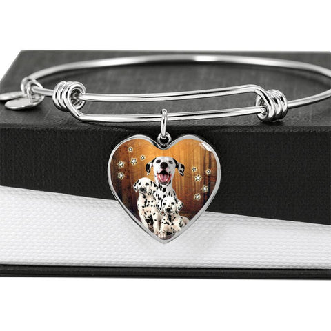 Cute Dalmatian Dog Print Luxury Heart Charm Bangle-Free Shipping