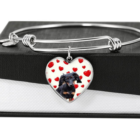 Dachshund Print Luxury Heart Charm Bangle-Free Shipping