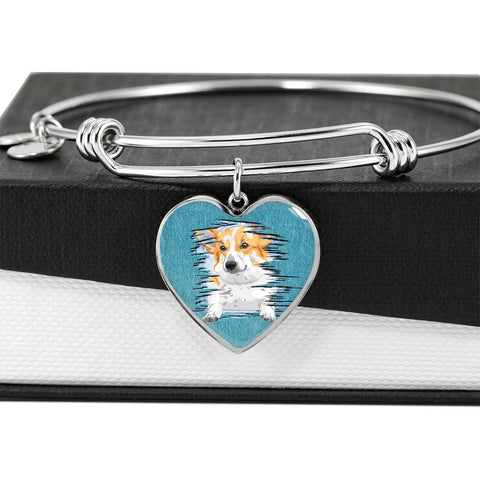 Pembroke Welsh Corgi Dog Art Print Heart Pendant Bangle-Free Shipping