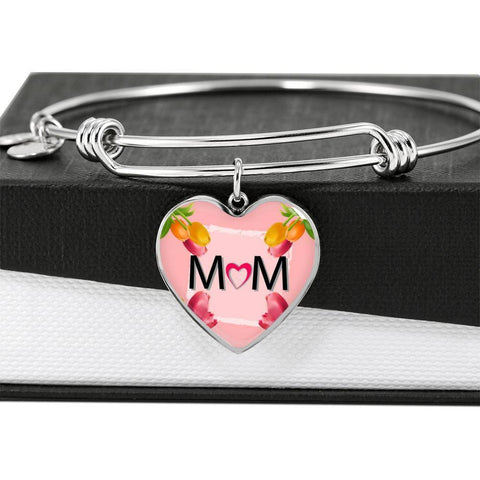 """MOM"" Print Heart Pendant Luxury Bangle-Free Shipping"