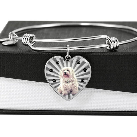 Havanese Dog Print Luxury Heart Charm Bangle-Free Shipping