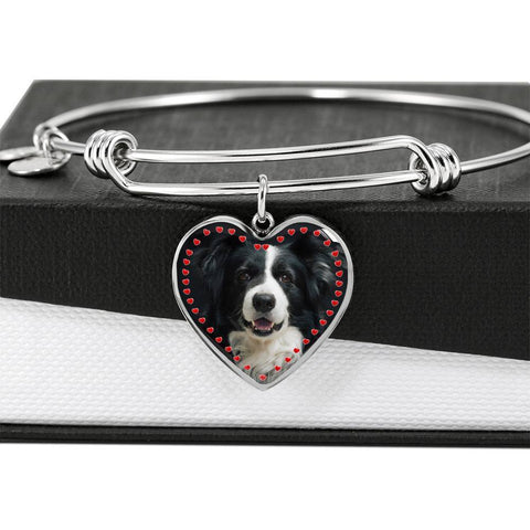 Border Collie Print Luxury Heart Charm Bangle-Free Shipping