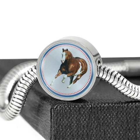 American Paint Horse Print Circle Charm Steel Bracelet-Free Shipping