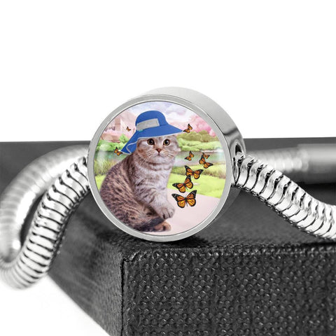 Scottish Fold Cat Print Circle Charm Steel Bracelet-Free Shipping