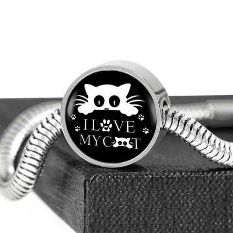 """ I Love My Cat"" Black Print Circle Charm Steel Bracelet"