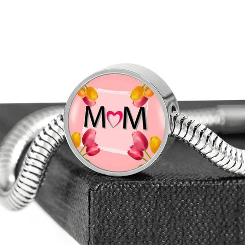 """MOM"" Print Circle Charm Steel Bracelet-Free Shipping"