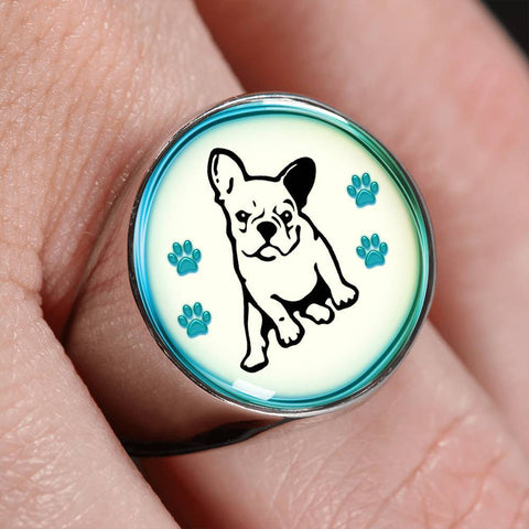 Cute French Bulldog Dog Print Signet Ring-Free Shipping