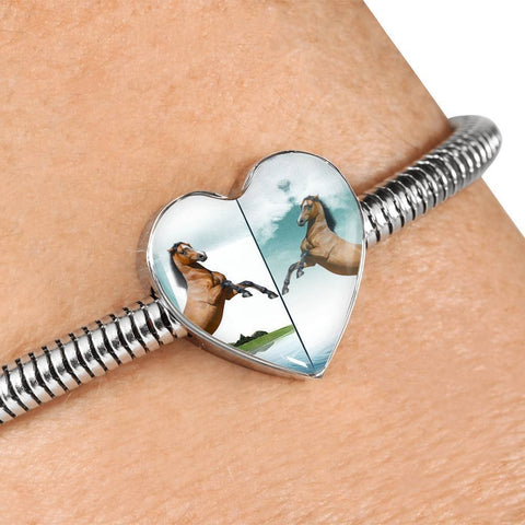 Lusitano Horse Print Heart Charm Steel Bracelet-Free Shipping