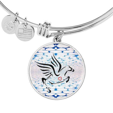 Amazing Percheron Horse Print Circle Pendant Luxury Bangle-Free Shipping
