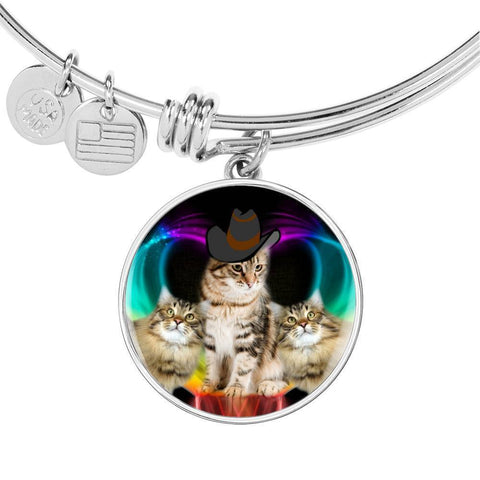 Siberian Cat Print Circle Pendant Luxury Bangle-Free Shipping
