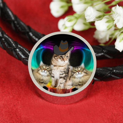 Siberian Cat Print Circle Charm Leather Bracelet-Free Shipping