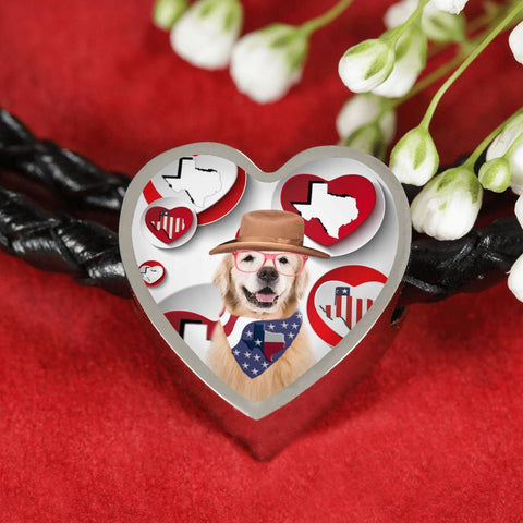 Golden Retriever Print Texas Heart Charm Leather Bracelet-Free Shipping