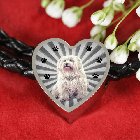 Havanese Dog Print Heart Charm Braided Bracelet-Free Shipping