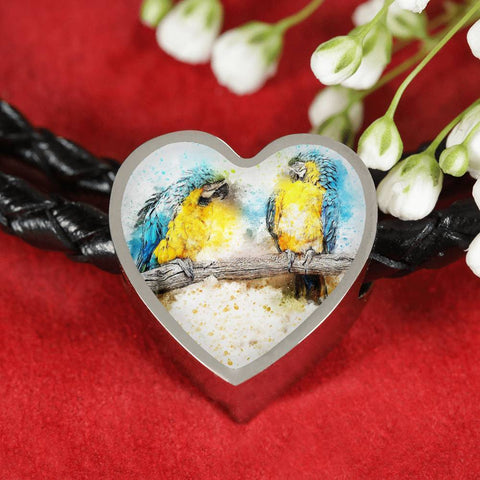 Blue And Yellow Macaw Parrot Art Print Heart Charm Leather Woven Bracelet-Free Shipping