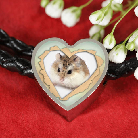 Robo Hamster Print Heart Charm Leather Woven Bracelet-Free Shipping