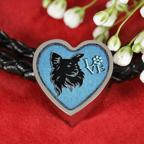 Papillon Dog On Denim Print Heart Charm Leather Woven Bracelet-Free Shipping