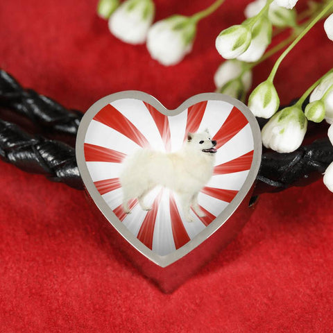 American Eskimo Dog Print Heart Charm Leather Bracelet-Free Shipping