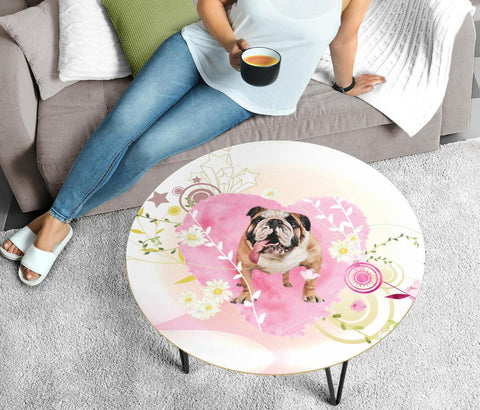 Bulldog Print Circular Coffee Table