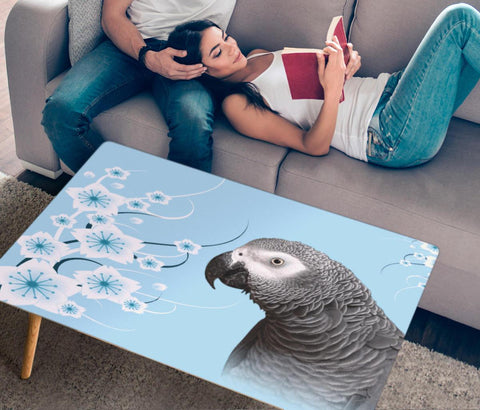 African Grey Parrot Print Rectangular Coffee Table