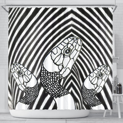 Black&White Snake Print Shower Curtain-Free Shipping