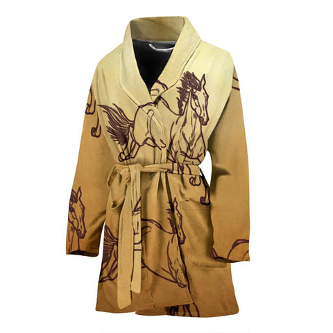 Arabian horse Print Women's Bath Robe-Free Shipping