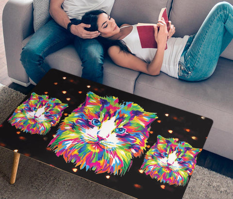 Cat Vector Art Print Rectangular Coffee Table