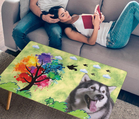 Alaskan Malamute Dog Print Rectangular Coffee Table