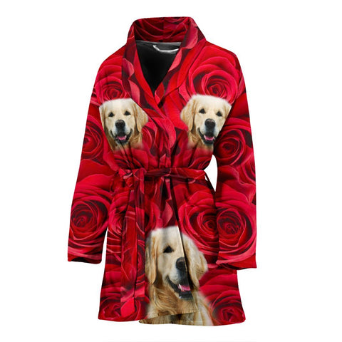 Cute Golden Retriever Print Women's Bath Robe-Free Shipping