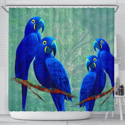 Hyacinth Macaw Parrot Print Shower Curtains-Free Shipping