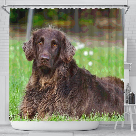 German Longhair Pointer Print Shower Curtains-Free Shipping