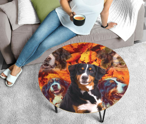 Bernese Mountain Dog Print Circular Coffee Table