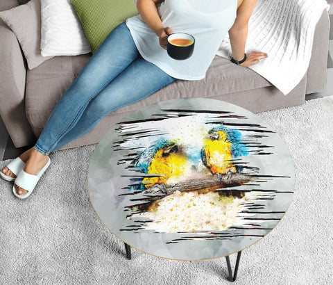 Blue And Yellow Macaw Parrot Art Print Circular Coffee Table