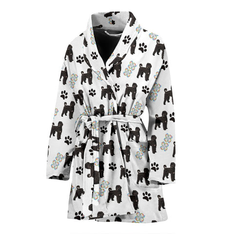 Portuguese Water Dog Patterns Print Women's Bath Robe-Free Shipping