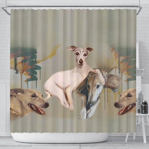 Italian Greyhound Print Shower Curtain-Free Shipping