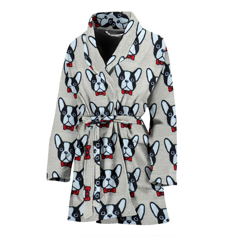 French Bulldog Pattern Print Limited Edition Women's Bath Robe-Free Shipping