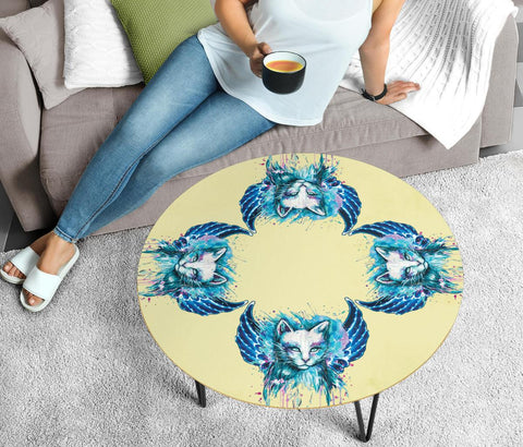 Cat Painting Print Circular Coffee Table