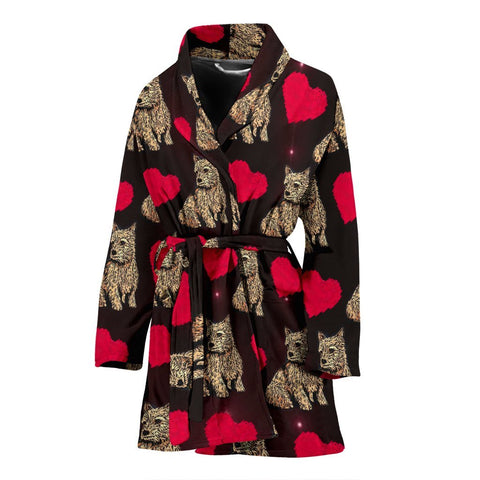 Norwich Terrier Patterns Print Women's Bath Robe-Free Shipping