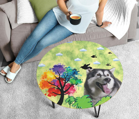 Alaskan Malamute Dog Print Circular Coffee Table