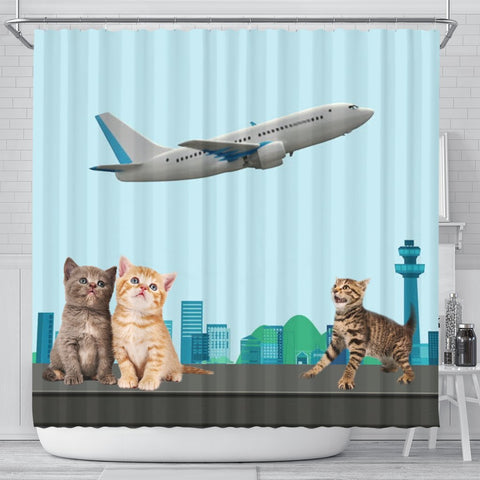 Happy Cats Print Shower Curtain-Free Shipping