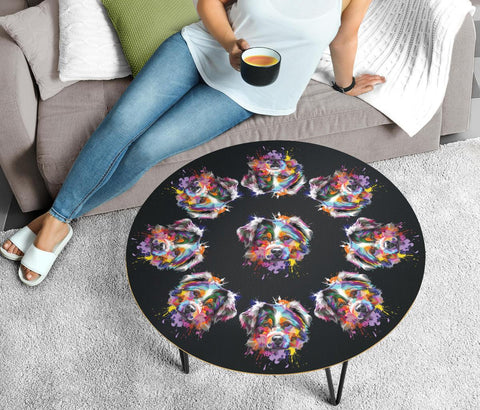 Australian Shepherd Dog Graphic Print Circular Coffee Table