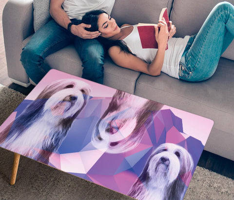 Bearded Collie Print Rectangular Coffee Table