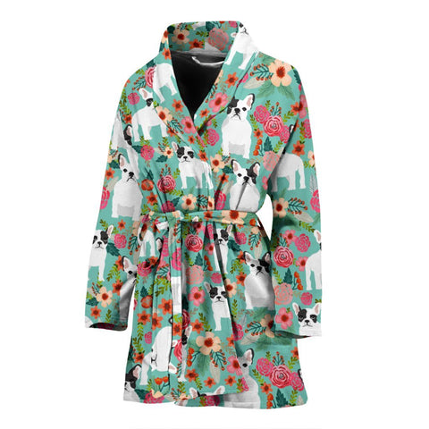 French Bulldog Floral Print Women's Bath Robe-Free Shipping
