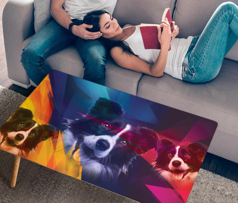 Border Collie Print Rectangular Coffee Table