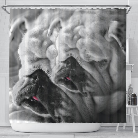 Lovely Bulldog Print Shower Curtains-Free Shipping
