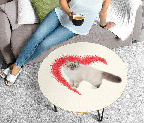 Birman Cat Print Circular Coffee Table