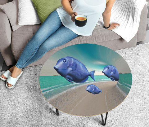 Blue Tang Fish Print Circular Coffee Table