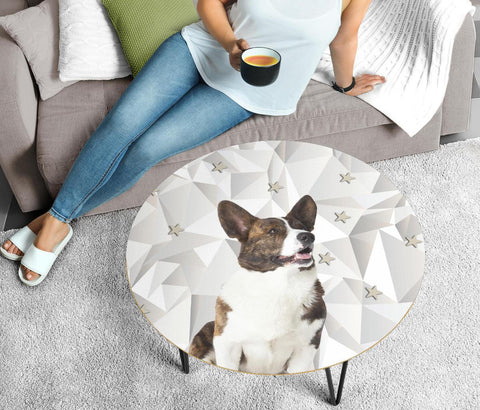 Cardigan Welsh Corgi Print Circular Coffee Table