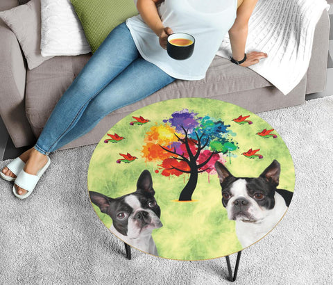 Boston Terrier Print Circular Coffee Table