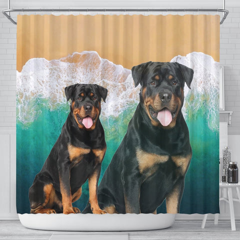 Cute Rottweiler Print Shower Curtains-Free Shipping