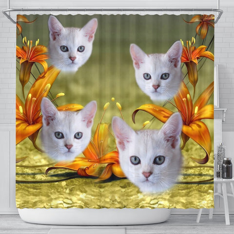 Lovely Burmilla Cat Print Shower Curtains-Free Shipping